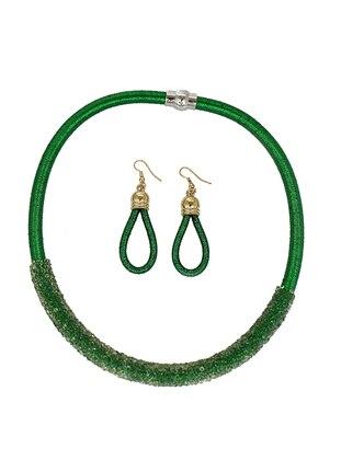 Takıştır Bijuteri Küpe Kolye Set - Yeşil