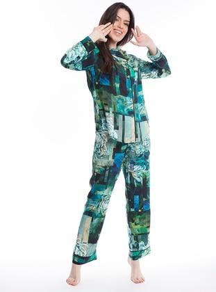 Renkli Çiçek Desenli Gömlek Pijama Takımı - Karışık Renkli - Pamuk&Pamuk Ürün Resmi
