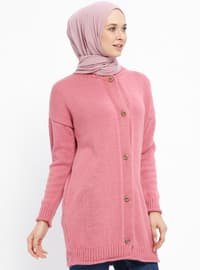 Pink - Crew neck - Acrylic -  - Cardigan