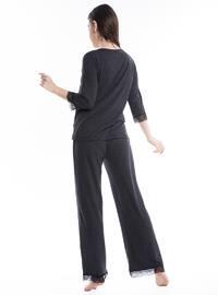 Smoke-coloured - V neck Collar - Viscose - Pyjama
