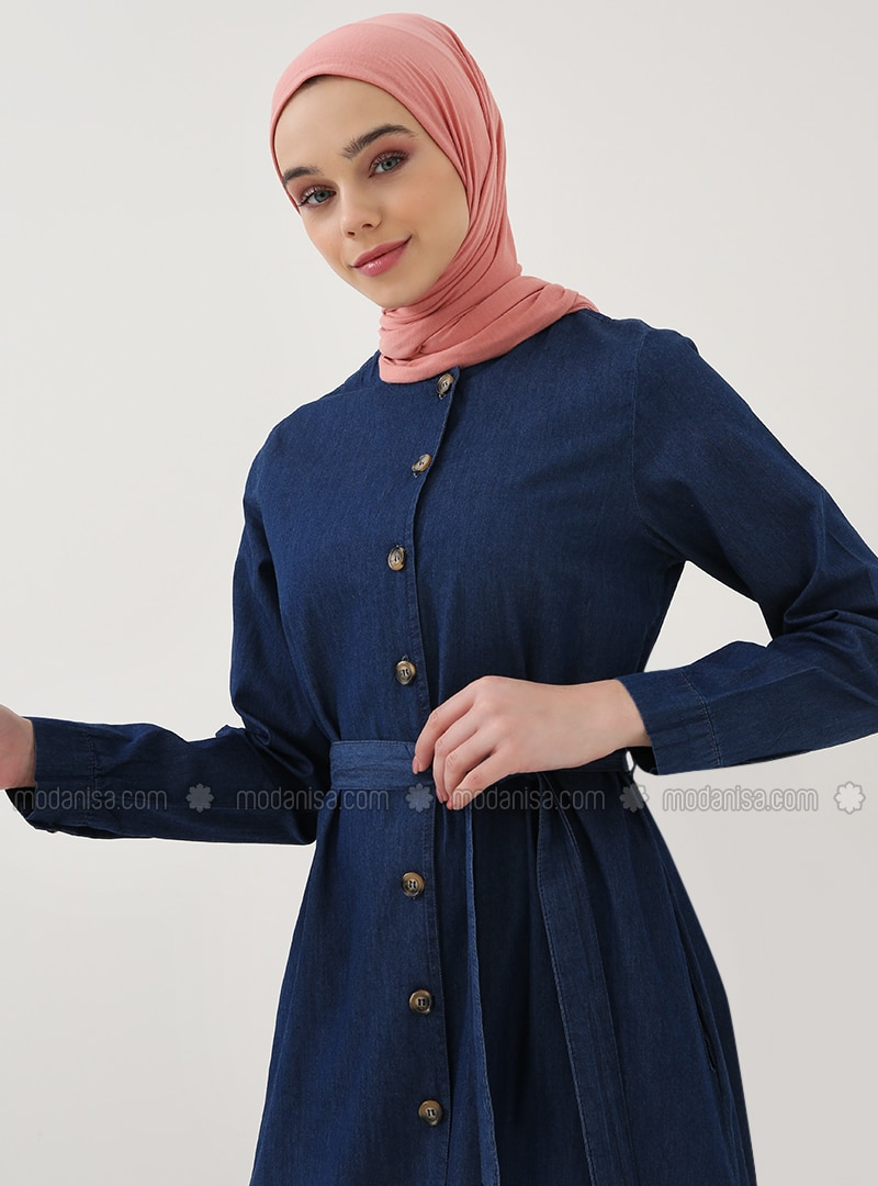 b7706a2ff67 Navy Blue - Crew neck - Unlined - Cotton - Denim - Dresses