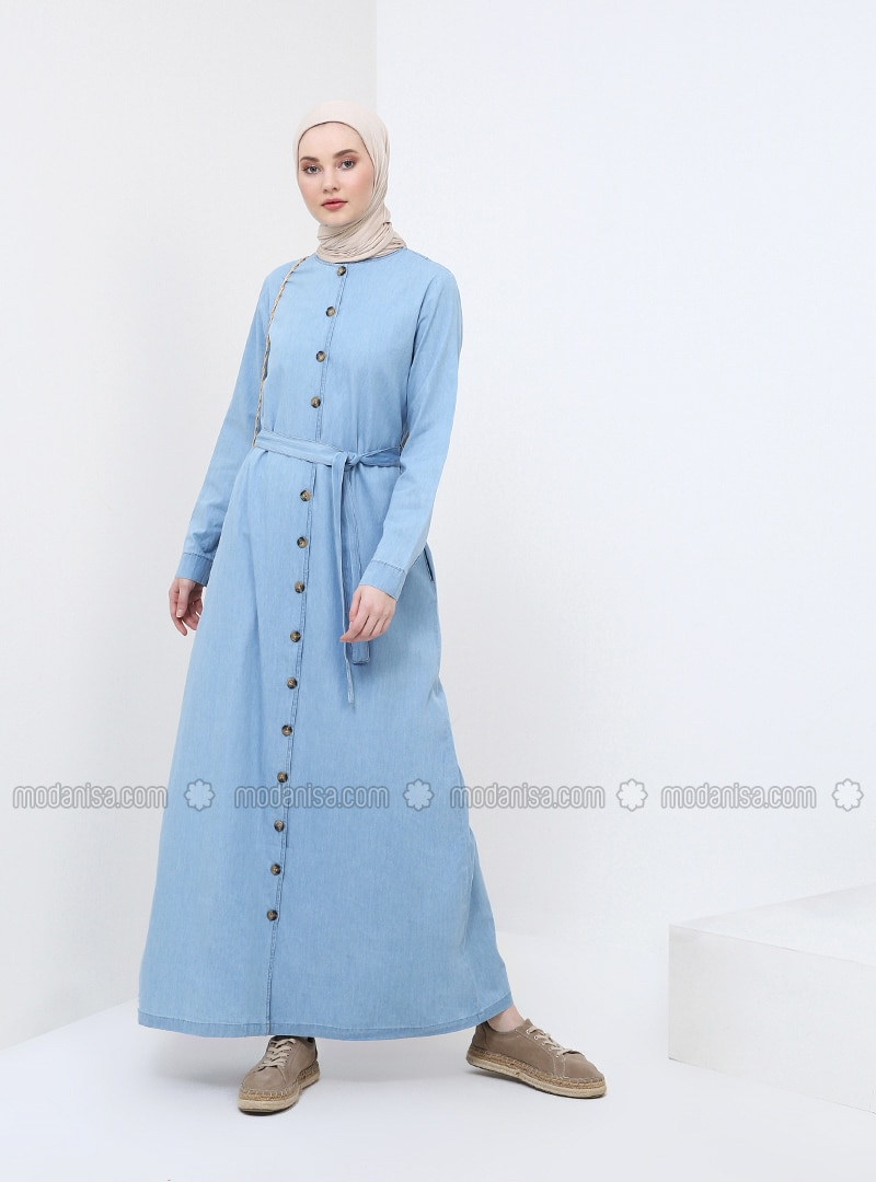 Blue - Crew neck - Unlined - Cotton - Denim - Dress