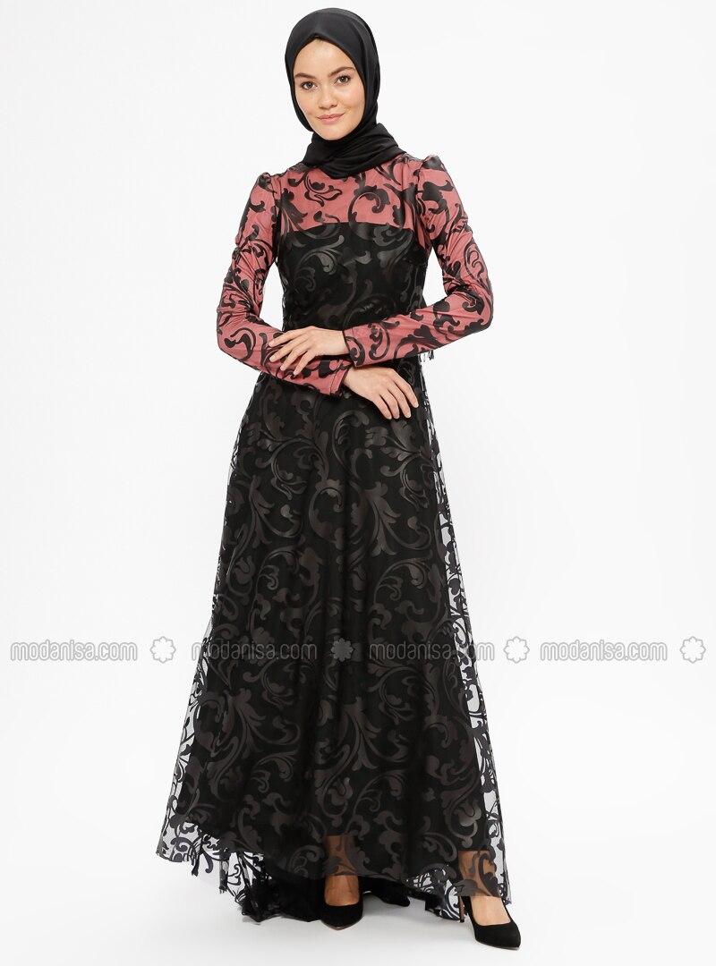 Black - Fuchsia - Multi - Fully Lined - Crew neck - Muslim Evening Dress