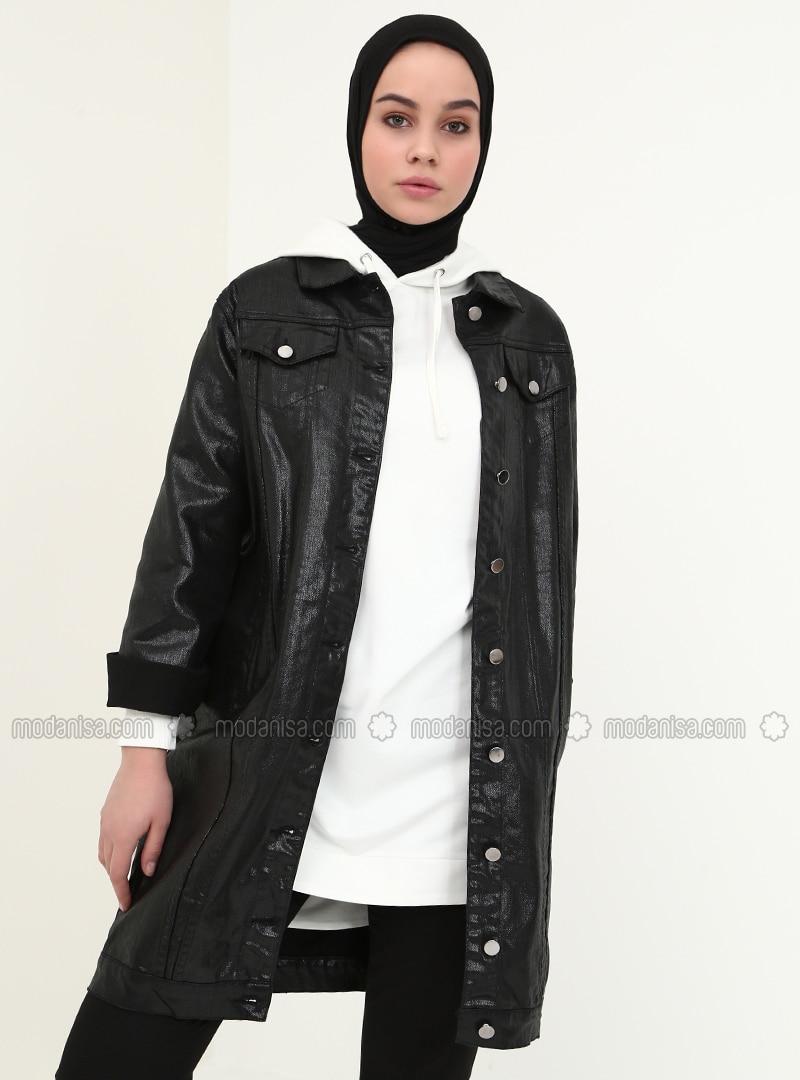 negra algodón tela de forro francés algodón Chaqueta de de sin jean de O8nPk0w