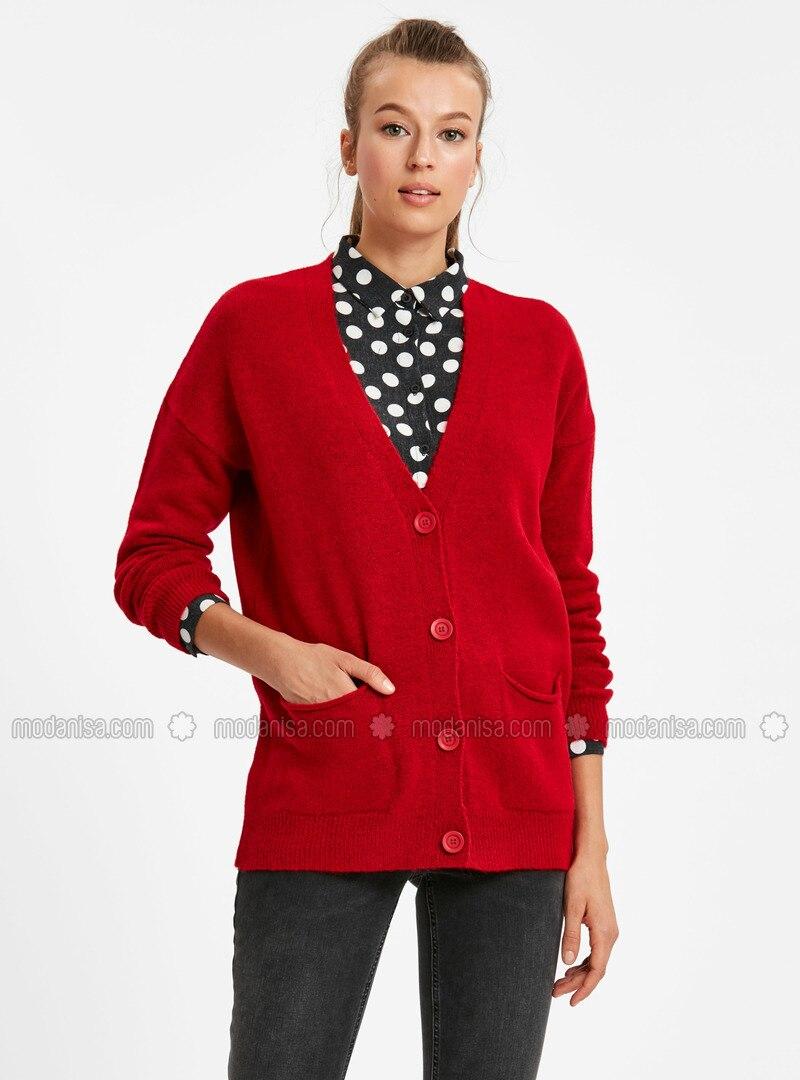 a45ecb23f93 Red - Printed - Cardigan. Fotoğrafı büyütmek için tıklayın