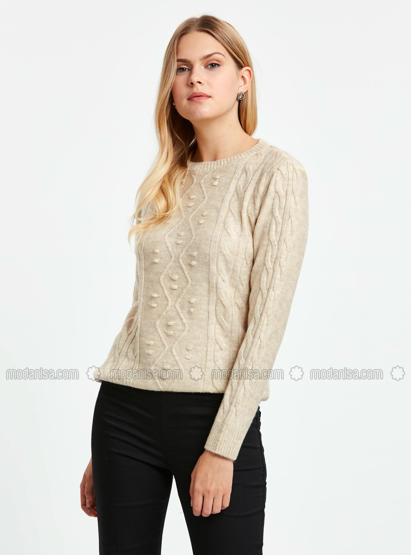 Beige - Printed - Crew neck - Jumper