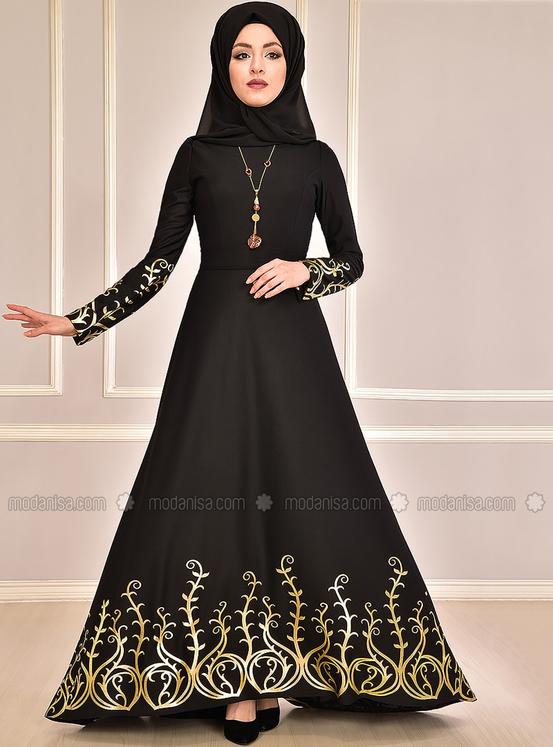 Black - Multi - Unlined - Crew neck - Muslim Evening Dress