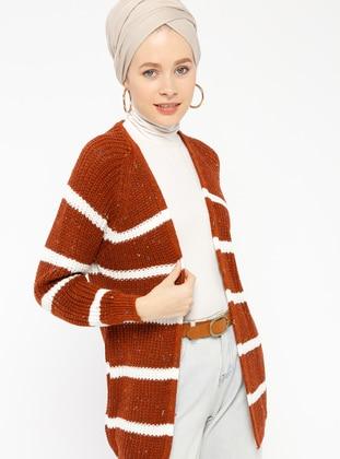 Brown - Ecru - Stripe -  - Cardigan