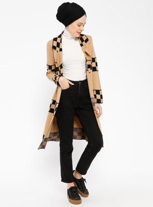 Black - Camel - Shawl Collar -  - Cardigan