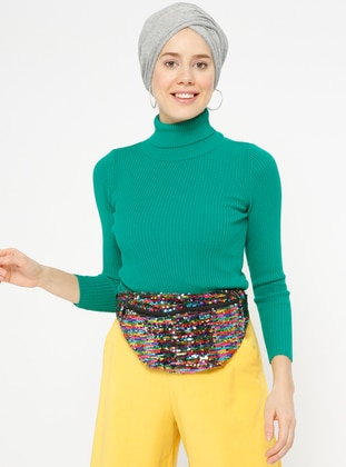 Green - Polo neck -  - Jumper