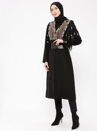 Black - Multi - Fully Lined - V neck Collar - Viscose - Coat