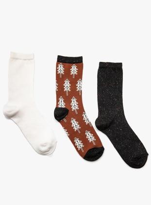 3`lü Çorap - Ekru Kahverengi Siyah - Koton Ürün Resmi