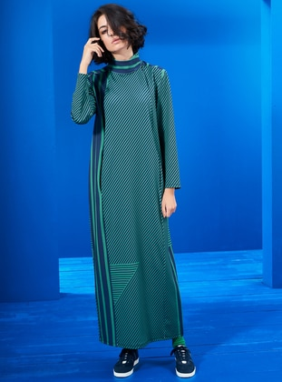 Green - Navy Blue - Stripe - Crew neck - Unlined - Dresses