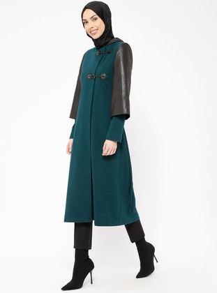 Petrol - Fully Lined - Wool Blend - Viscose - Coat