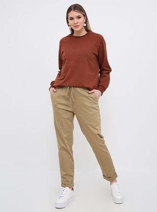 Camel - Cotton - Plus Size Pants - Alia