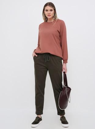 Khaki - Cotton - Plus Size Pants