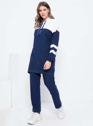 Ecru - Indigo - Unlined - Plus Size Suit - Alia
