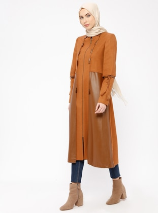 Tan - Fully Lined - Crew neck - Coat