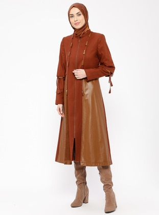 Tan - Terra Cotta - Fully Lined - Crew neck - Coat
