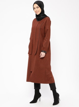 Terra Cotta - Multi - Fully Lined - Crew neck - Wool Blend - Topcoat