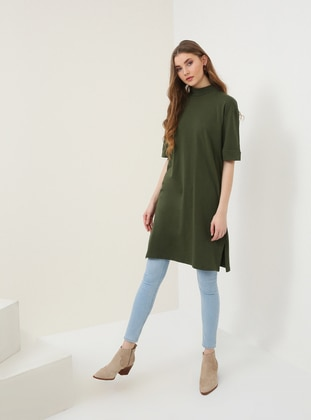 Khaki - Polo neck - Tunic