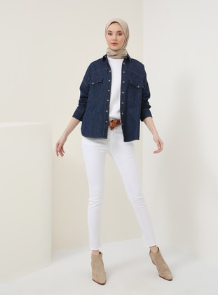 White - Cotton - Denim - Pants