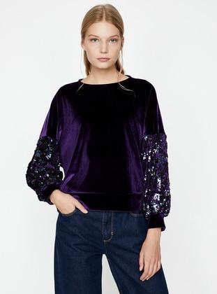 Pul Detaylı Sweatshirt - Mor - Koton Ürün Resmi