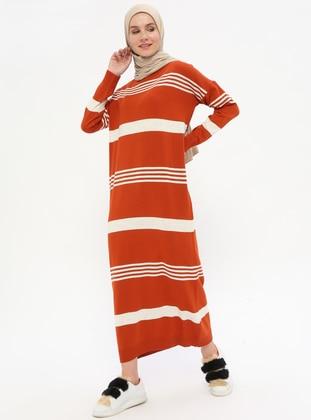 Beige - Terra Cotta - Stripe - Crew neck - Unlined -  - Dresses