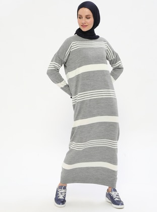 Gray - Ecru - Stripe - Crew neck - Unlined -  - Dresses