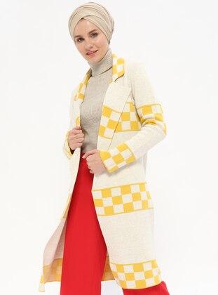Beige - Mustard - Shawl Collar -  - Cardigan