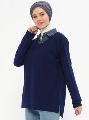 Navy Blue - V neck Collar -  - Jumper