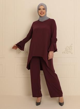 Dusty Rose - Unlined - Crew neck - Muslim Plus Size Evening Dress