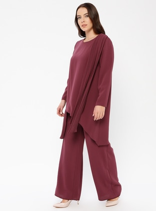 Cherry - Unlined - Crew neck - Muslim Plus Size Evening Dress