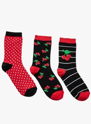 Üçlü Patik Çorap - Kırmızı Siyah - Koton Ürün Resmi