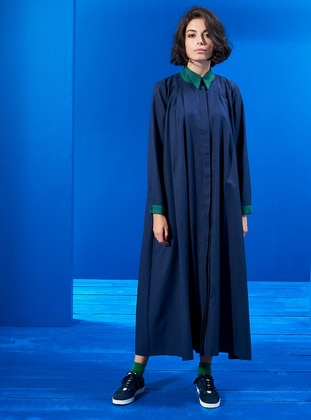 Green - Navy Blue - Point Collar - Unlined - Dresses