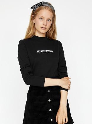 Yazılı Baskılı Bluz - Siyah - Koton Ürün Resmi