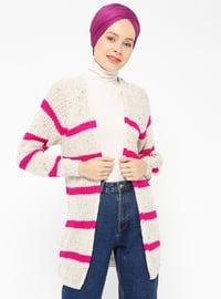 Beige - Fuchsia - Stripe -  - Cardigan