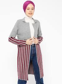 Gray - Stripe - Shawl Collar -  - Cardigan