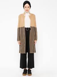 Black - Camel - Stripe - Shawl Collar -  - Cardigan