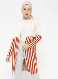 Beige - Terra Cotta - Stripe - Shawl Collar -  - Cardigan