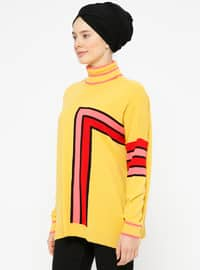 Red - Mustard - Polo neck -  - Jumper