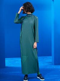 Green - Navy Blue - Stripe - Crew neck - Unlined - Dresses