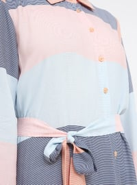 Salmon - Stripe - Point Collar - Unlined - Viscose - Dress