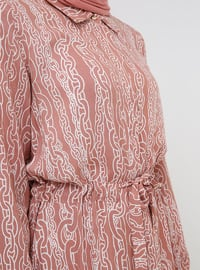Pink - Multi - Point Collar - Unlined - Viscose - Dresses