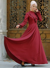 Maroon - Polo neck - Fully Lined - Dresses