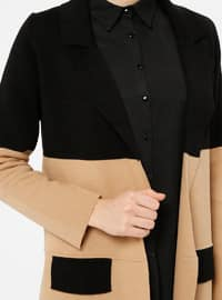 Black - Camel - Shawl Collar -  - Cardigan