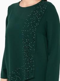 Green - Crew neck - Unlined - Plus Size Evening Suit