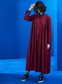 Navy Blue - Maroon - Point Collar - Unlined - Dresses