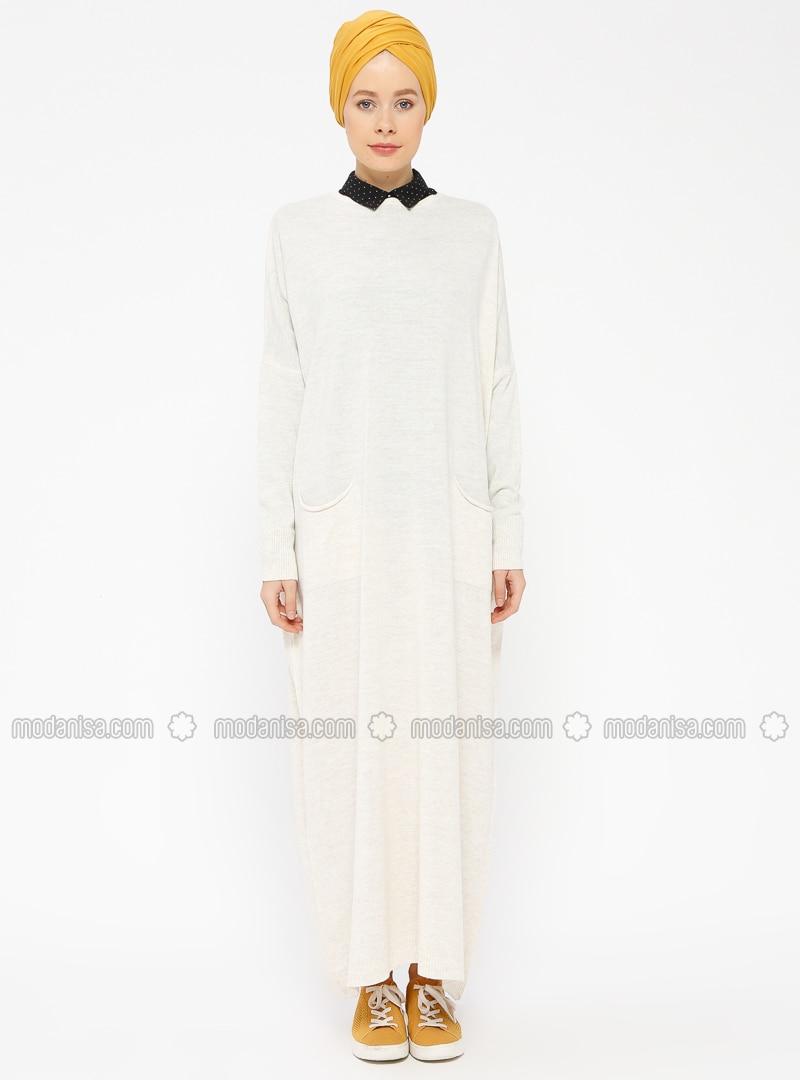 Beige - Crew neck - Unlined -  - Dresses