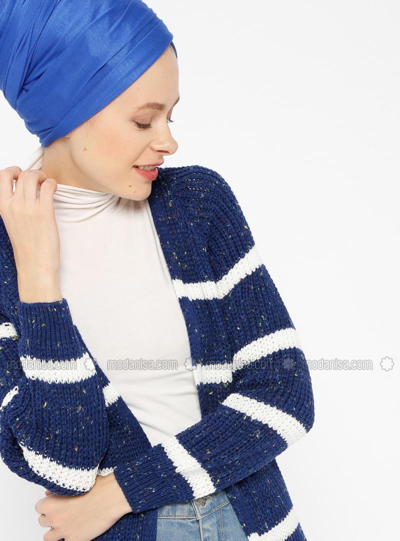 Ecru - Saxe - Stripe -  - Cardigan